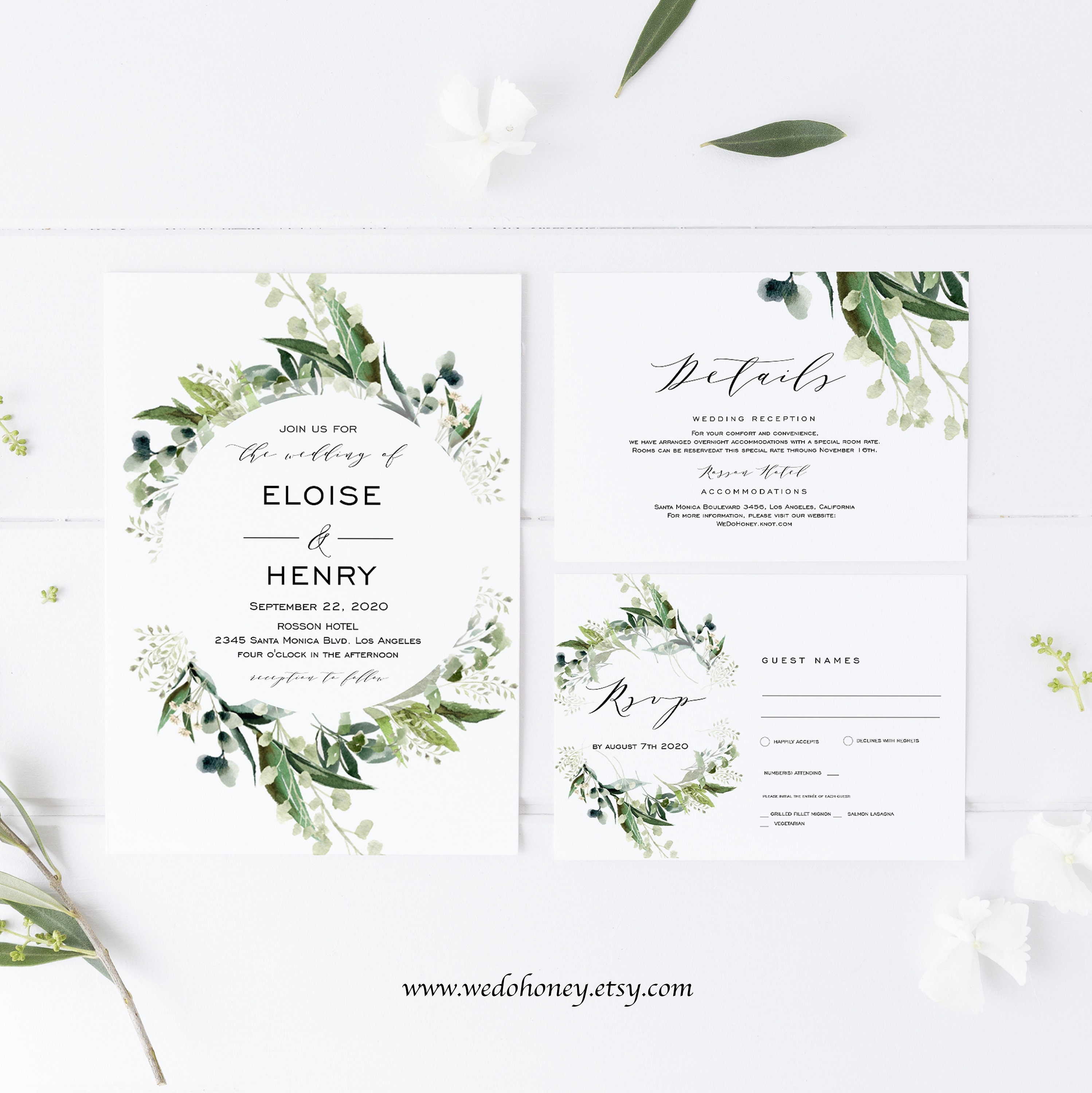 Greenery Wreath Wedding Invitation Set Template, Editable Text, RSVP and Details Card