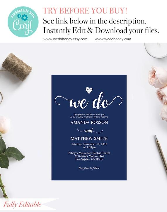 navy blue wedding invites instant download navy wedding invitations