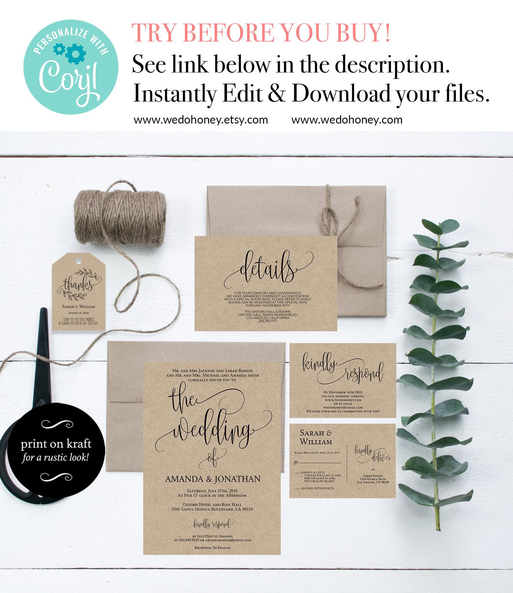 Rustic Wedding Invitation Template, Printable Wedding Invitations, Wedding Invitation Suite, Fully Editable,  Wedding Invitation  #WDH070