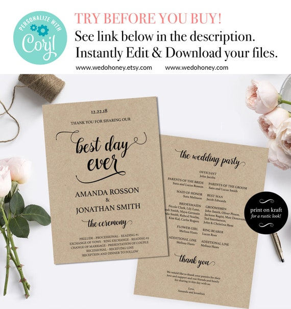 Modern Wedding Program Template Fully Editable Modern Calligraphy