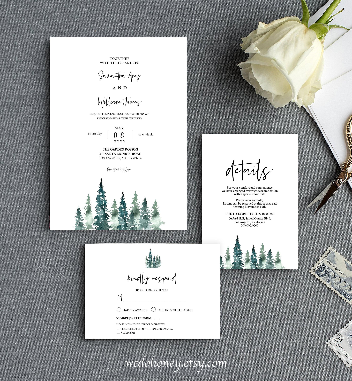 Rustic Pine Wedding Suite Invitation Template, Mountain Wedding, Editable Text #030