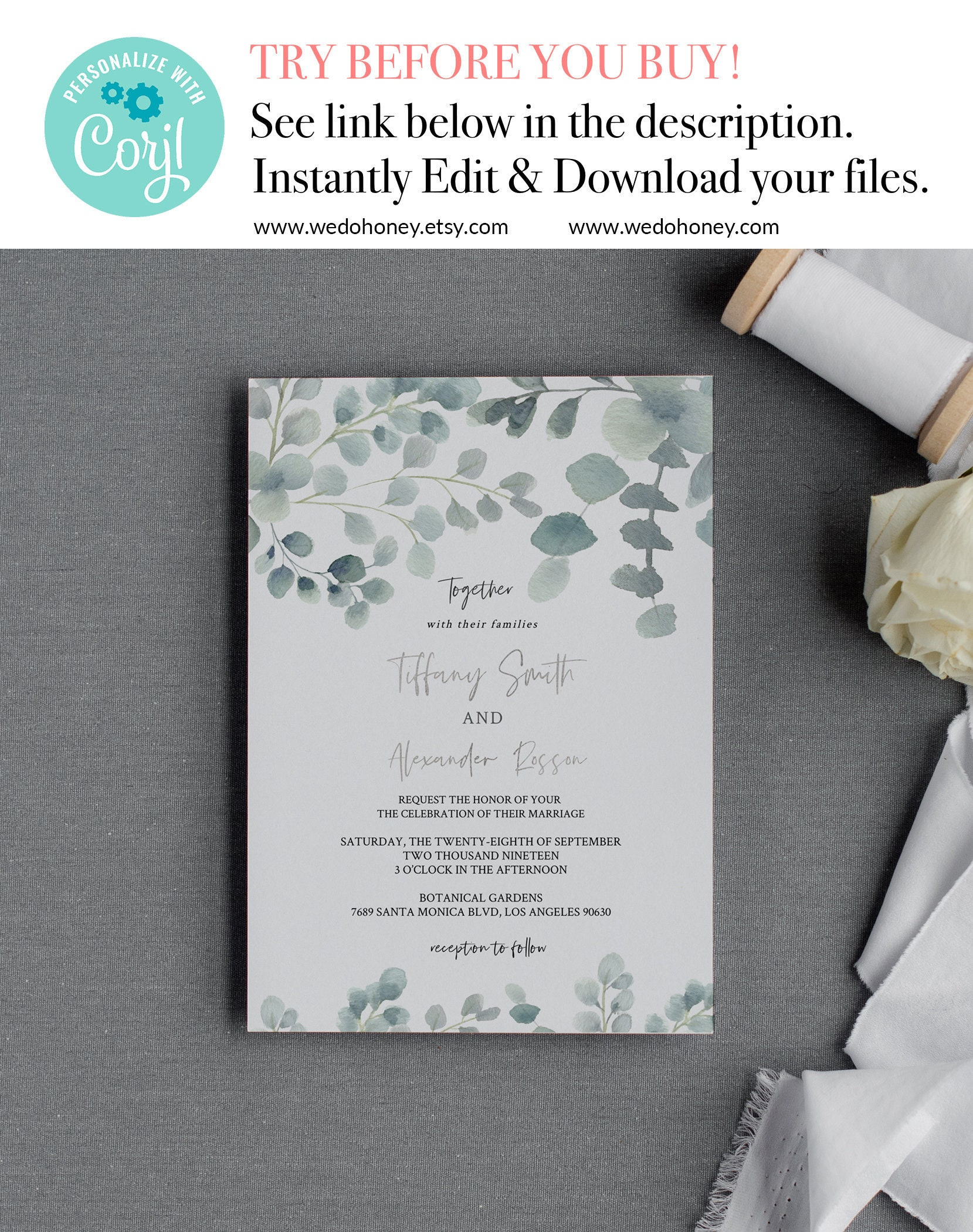 Wedding Invitation Template, Suite Invite, Eucalyptus Greenery, Editable Text, RSVP and Details Card #081