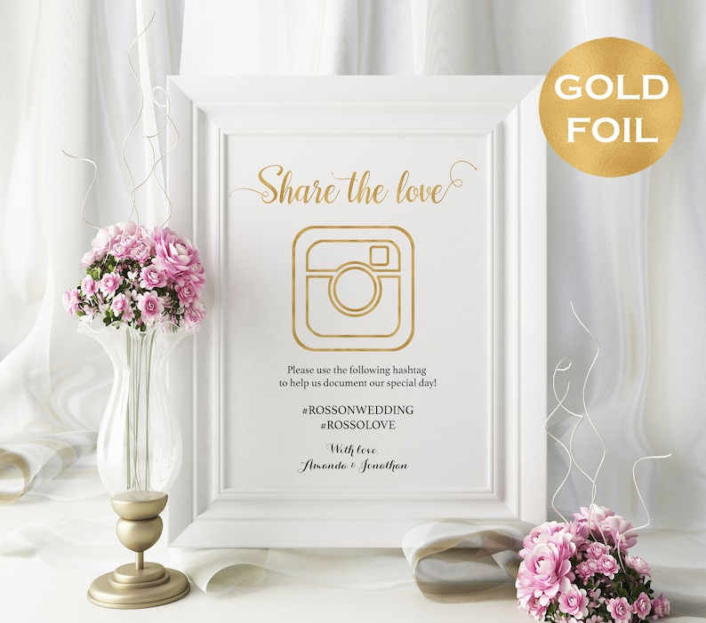 Share The Love Sign  Gold Foil Wedding Hashtag Sign  DIY image 0