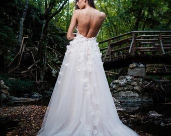 Rustic wedding dress, Boho wedding dress, Modest & flower wedding dress, long bridal gown, white bridal dress, sleeveless wedding dress