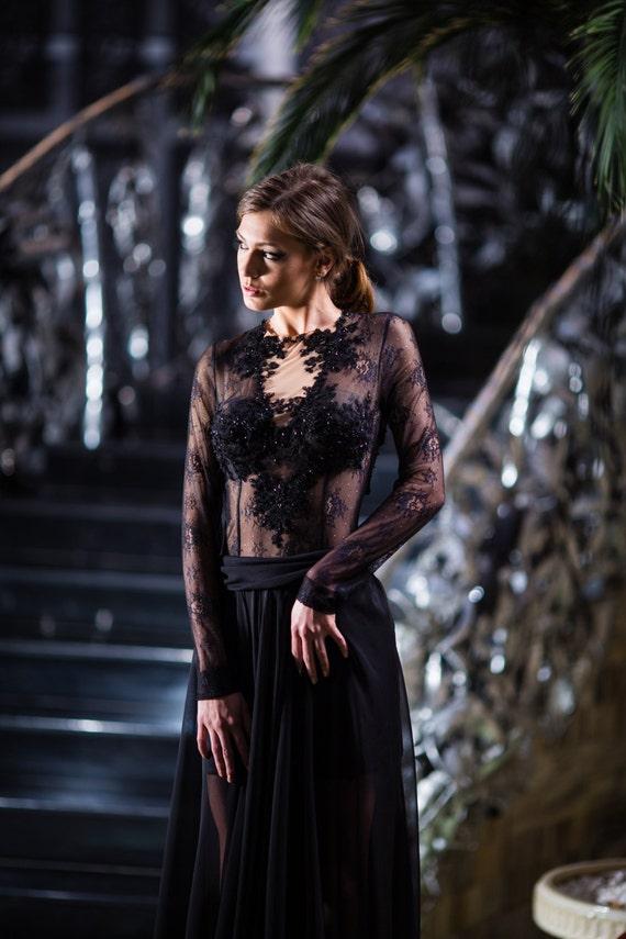 new product 80cdd a4867 Tubino nero Goth nero vestito scollato Custom aperto posteriore abito da  sposa abito da sposa alternativi speampunk gotico abito couture