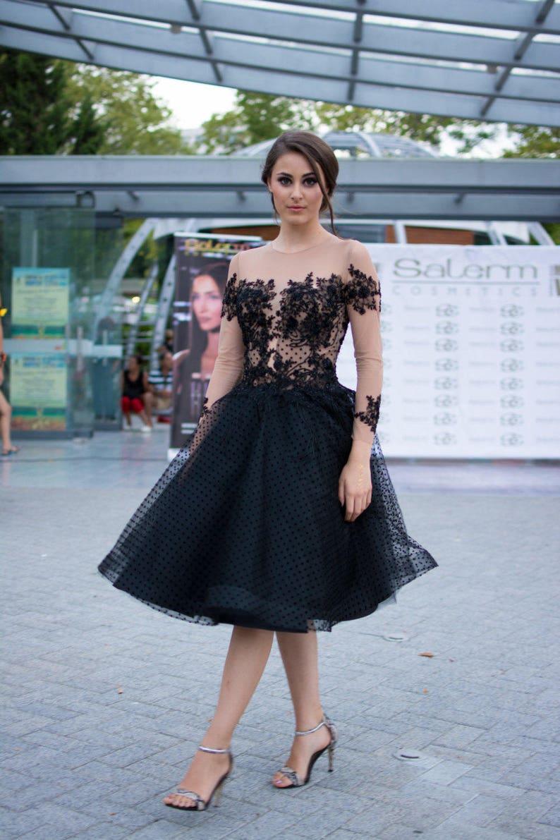 47a4f597154a22 Korte prom jurk Black schattige jurk korte avond mode dress