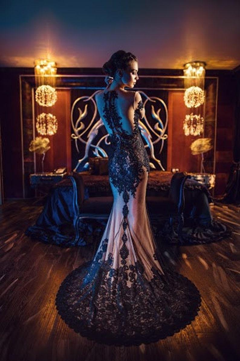 Formale Elegante Ärmel Der Brautkleid Kleid Trompete Edel Schwarz Mutter Illusion Lange Abend Verziert SpMqUzV
