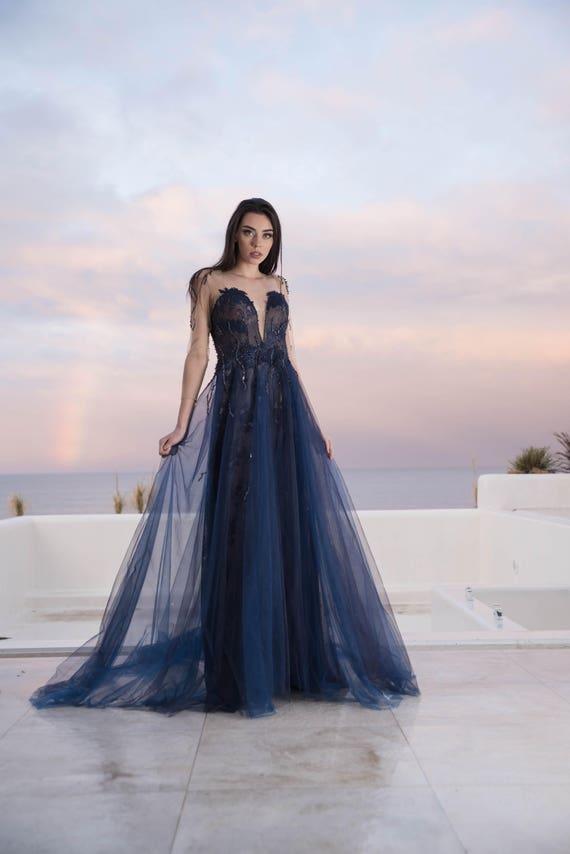 Blue Wedding Dress Goth Wedding Dress In Navy Blue Etsy