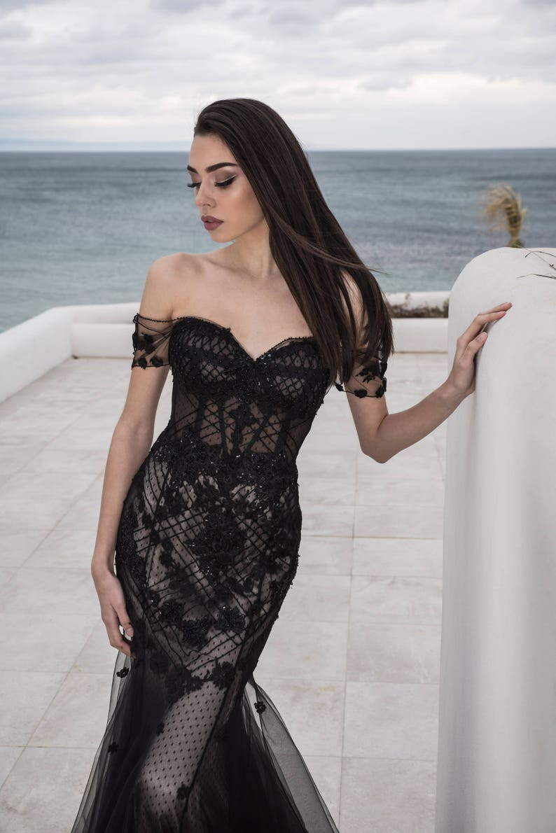 bcd634b04fcea Black romantic dress Womens formal evening dresses Designer
