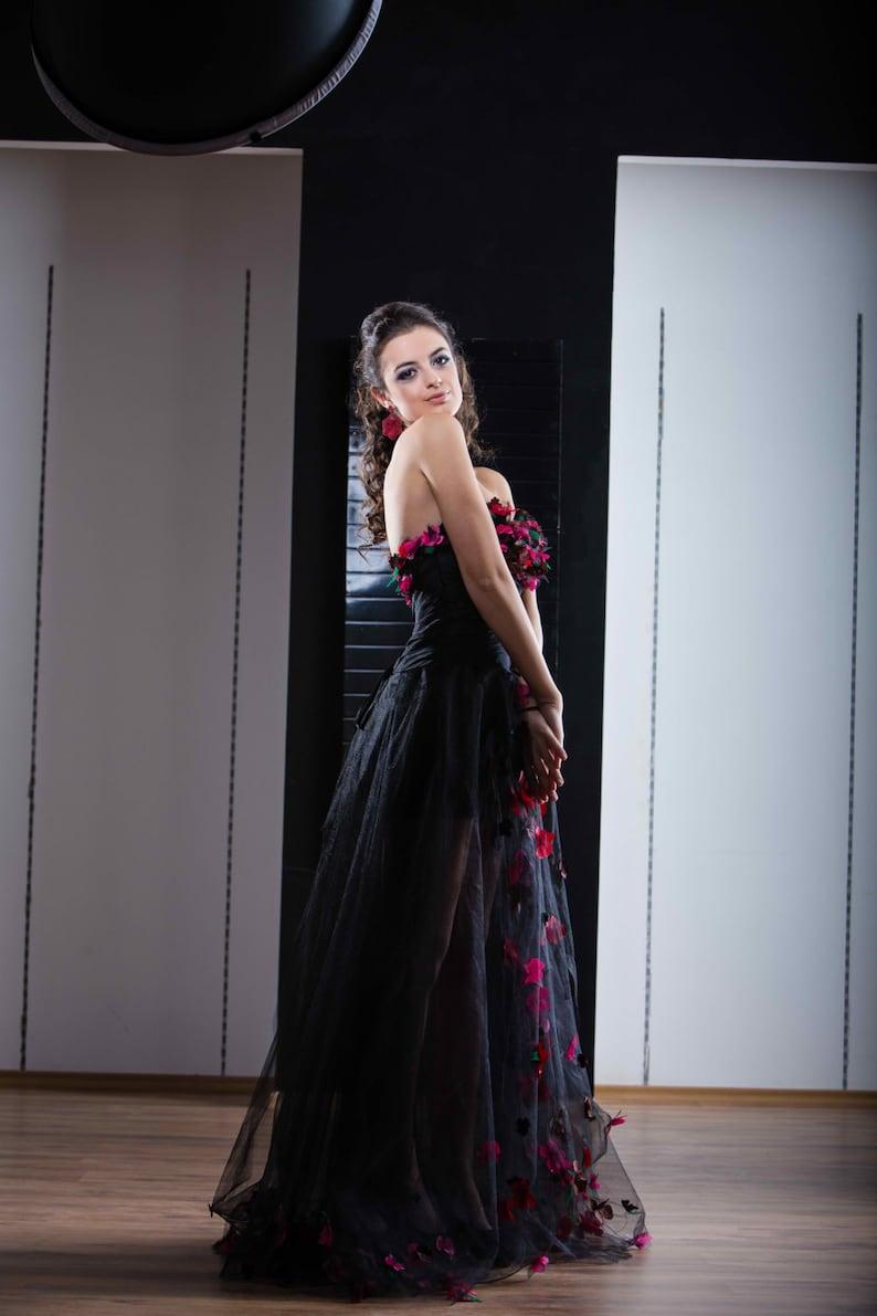 Black Bridesmaid Dress Sweetheart Corset
