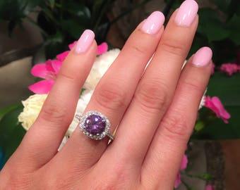 Amethyst Ring-Amethyst Rings,Engagement Ring-Promise Ring-Cushion cut Ring-Large Amethyst Ring,Purple ring,February birthstone ring