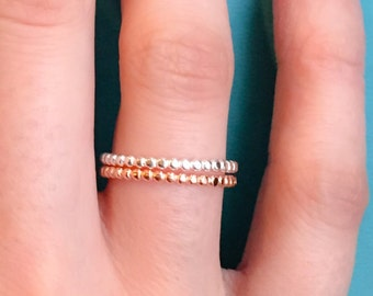 Dainty Rose Gold Beaded Stacking Ring-Sterling Silver Beaded Stacking Ring-Bead Stackable Ring-Sterling Silver Stackable Ring High quality