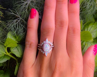 White Opal Ring-Crown ring,White Fire Opal,Wedding Set,Bridal set,Three Ring Engagement Set-Halo Ring-3 Ring Set,Right hand ringPromise Ring