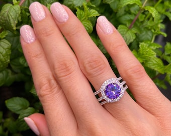 Amethyst Ring-Three ring set,Amethyst and CZ,Engagement Ring-Promise Ring-Cushion cut Ring-Large Amethyst Ring,Amethyst rings