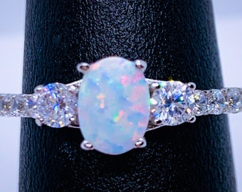 White Fire Opal Ring-Opal-Opal Ring, Opal Rings,Promise Ring-Engagement Ring-Petite Opal Ring-CZ Opal Birthday Gift-Oval Opal Ring