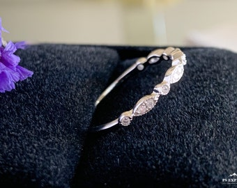 Wedding Band-Art Deco Ring-Half Eternity Band-Promise Ring-CZ Wedding Ring-Diamond Band-Stack Ring-Eternity Ring,CZ ring,Diamond wedding ban