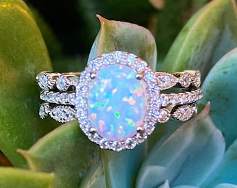 White Opal Ring-Royal Fire Opal Ring-Opal Ring Wedding Set-CZ Rings-Three Ring Engagement Set-Halo Ring-3 Ring Set-Oval Ring-Promise Ring