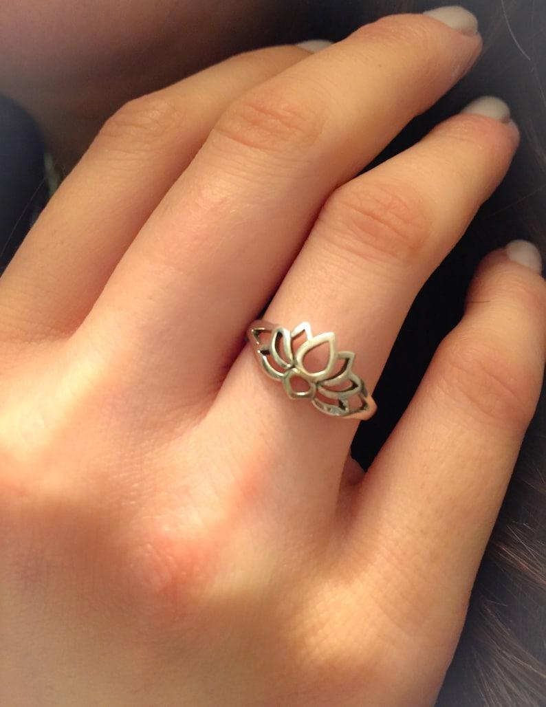 43689a4a41a16 Lotus Ring-Sterling Silver Lotus Ring-Lotus Flower Ring-New  Beginnings-Lotus Jewelry-Yoga Ring-Promise Ring-Lotus-Thumb Ring-Midi-Lotus