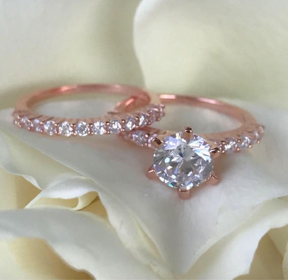 Rose Gold Wedding Ring.Rose Gold Wedding Rings 2 Carat Diamond Engagement Ring Rose Gold Engagement Ring Wedding Ring Set Soltaire Engagement Ring Set