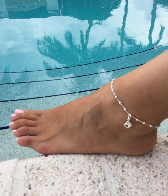 Birthstone Ankle Chain Good Luck Charm Jewelry Sterling Silver Beaded Ankle Bracelet Equestrian Anklet Equestrian Charm Anklet