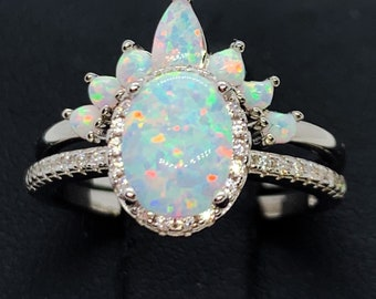 White Opal Ring-Opal Ring,Opal Rings Wedding Set-CZ Rings-Two Ring Engagement  Set-Halo Ring-2 Ring Set-Oval Ring-Promise Ring,Crown opal