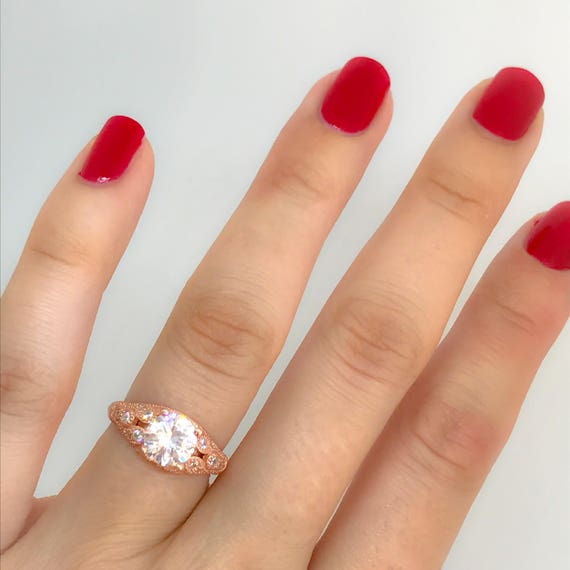 Rose Gold Engagement Ring Right Hand Ring Soltaire Ring Rose Etsy