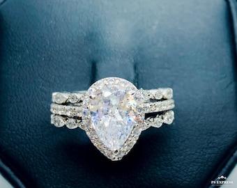 Teardrop Wedding Set-2 Carat ringWedding Rings-Large Teardrop Ring-Pear Engagement Ring Set-Promise ring,3 ring set,right hand Ring,Art deco