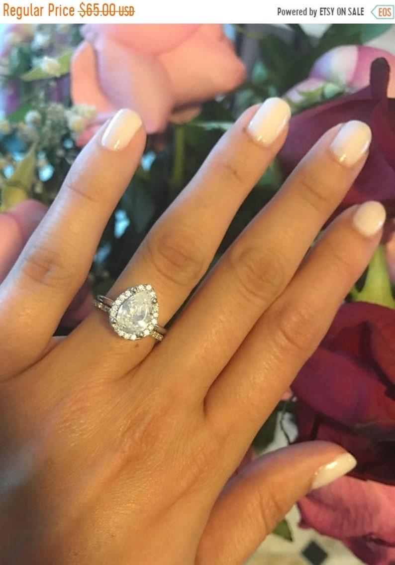 Hot Sale Now Teardrop Wedding Set Wedding Rings Large Teardrop Etsy