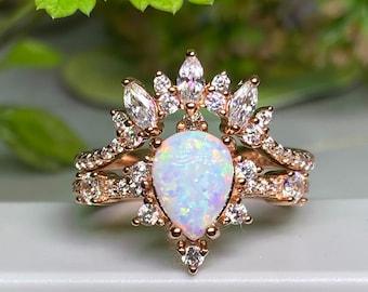 Rose Gold Rings,Opal rose gold ,Wedding set Art Deco Rings-Diamond CZ Rings Opal Engagement Rings,Opal Teardrop Ring,Diamond engagement set