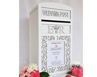 Large Personalised Royal Mail Wedding Card Post Box - Locking / Lockable Design