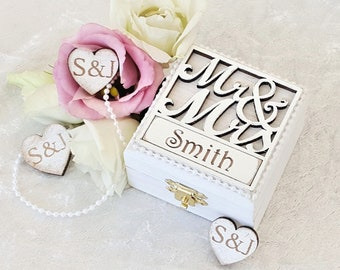 Personalised Mr & Mrs Double Ring Box For Wedding Ring Bearers And Engagements