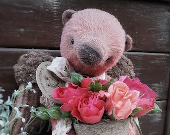 WINGED BEAR. TEDDY. Artist Teddy Bear. teddy bear. vintage bear. teddy celestial. pink bear.