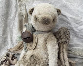 WINGED BEAR. TEDDY. Artist Teddy Bear. teddy bear. vintage bear. teddy celestial. beige bear.