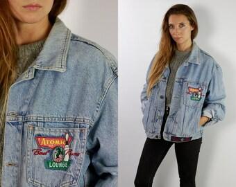 Denim Jacket Vintage Jean Jacket Blue Denim Jacket Large Denim Jacket  Grunge Jean Jacket Grunge Denim Jacket Large Jean Jacket DJ35 f27a88da306e