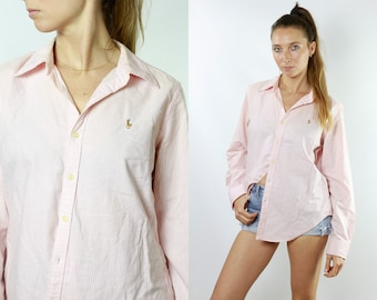 6ba5ac970 RALPH LAUREN Shirt Ralph Lauren Button Up Pink Shirt Women Pink Blouse Vintage  Ralph Lauren Vintage Shirt Oxford Shirt Polo HE126
