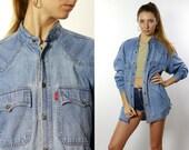 Denim Shirt Button Down Shirt Jean Shirt Oversize Denim Shirt Oversize Jean Shirt Blue Denim Shirt Blue Jean Shirt Vintage Clothing HE68