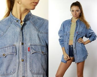 f3b42be9f45b Denim Shirt Button Down Shirt Jean Shirt Oversize Denim Shirt Oversize Jean  Shirt Blue Denim Shirt Blue Jean Shirt Vintage Clothing HE68