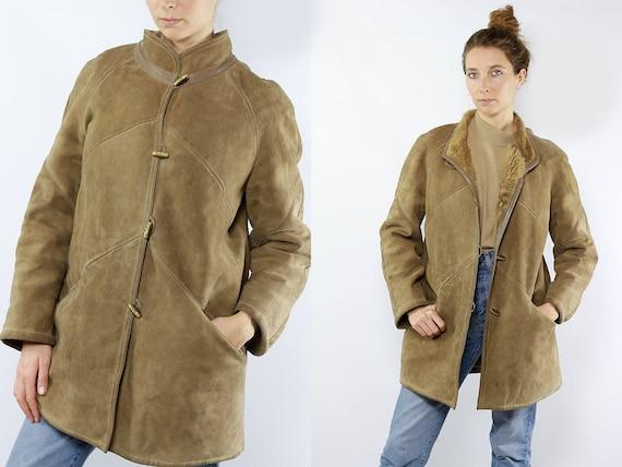 Small Shearling Coat / Vintage Sherpa Coat / Small Sheepskin Coat / Beige Sheepskin Coat / Beige Shearling Coat / Shearling Coat / Sheepskin