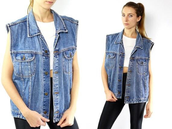 Denim Vest Vintage Vest Jean Vest 80s Jacket Denim Jeans Vest 80s Oversize Vest Jean Jacket Denim Jacket Vintage Vest Jeans Vest JJ106