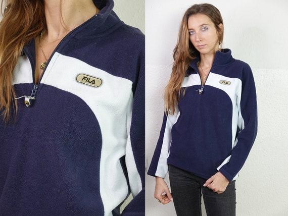 Fila Jumper Fleece Jumper 1/4 Zip Jumper Vintage Jumper Vintage Sweatshirt Fleece Sweatshirt Teddy Jumper Vintage Clothing FS35
