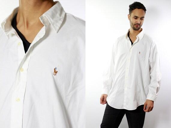 RALPH LAUREN Shirt Ralph Lauren Button Up White Shirt Mens Shirt White Vintage Ralph Lauren Vintage Shirt Oxford Shirt Polo Ralph LaurenHE14