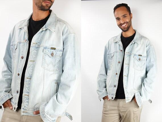 Denim Jacket Vintage Jean Jacket Denim Jacket Blue Jean Jacket Men Grunge Jacket Vintage Denim Jacket Wrangler 90s Denim Jacket DJ147