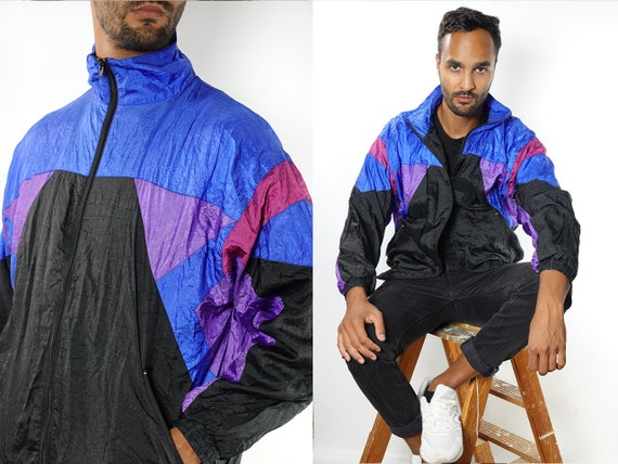 90s Windbreaker Festival Jacket Vintage Windbreaker Vintage Track Jacket Oversize Windbreaker 90s Track Jacket  Vintage Clothing Men TJ8