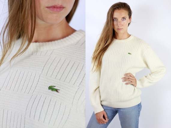 LACOSTE Jumper White Lacoste Sweater  Lacoste Sweatshirt 90s Lacoste Jumper Vintage Lacoste White Jumper Vintage Sweater White WP80