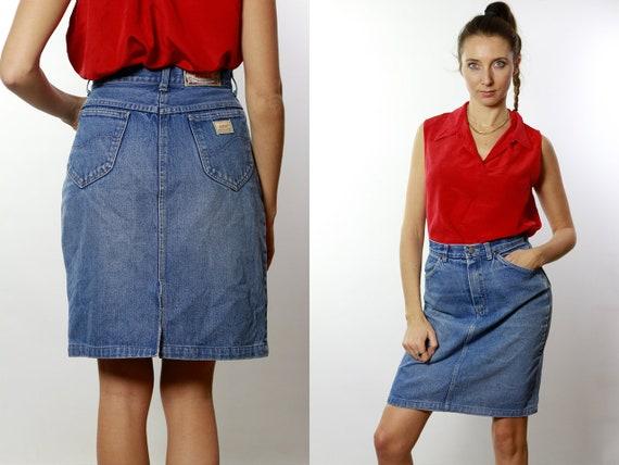 Denim SKIRT High Waist  / Vintage Denim Skirt / Denim Skirt  Vintage / 80s Skirt / Pencil Skirt / Denim Mini Skirt Jean Skirt High Waist R16