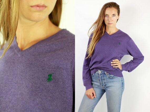 Ralph Lauren Sweater  Ralph Lauren Jumper  Purple Wool Jumper  Polo Jumper  Vintage Wool Jumper  Vintage Sweater  Ralph Lauren WP79