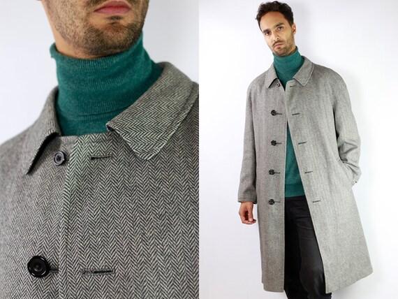Reversible Coat Blue Reversible Coat Men Reversible Coat Grey Coat Trenchcoat Reversible Coat Checked Coat Vintage Trenchcoat  CO29