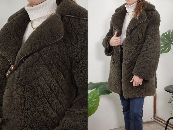 Teddy Coat Shearling Jacket Shearling Coat Sheepskin Jacket Sheepskin Coat Grey Coat Sherpa Jacket Grey Second Hand Vintage Clothing SH106