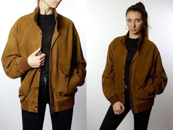 Vintage Suede Jacket Vintage Suede Bomber Suede Bomber Jacket Brown Suede Jacket Brown Bomber Jacket Soft Suede Jacket Large SUJ37