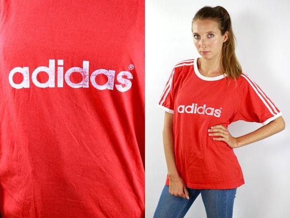 Adidas T-Shirt Adidas Top T-Shirt Adidas 90s T-Shirt Red Shirt Adidas Vintage T-Shirt Red Adidas Vintage T-Shirt 90s Adidas Top 90s Adidas